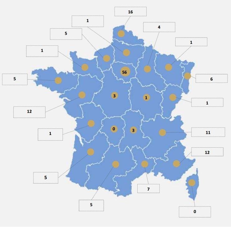Carte de la répartition des data centers en France par région (156 au total).